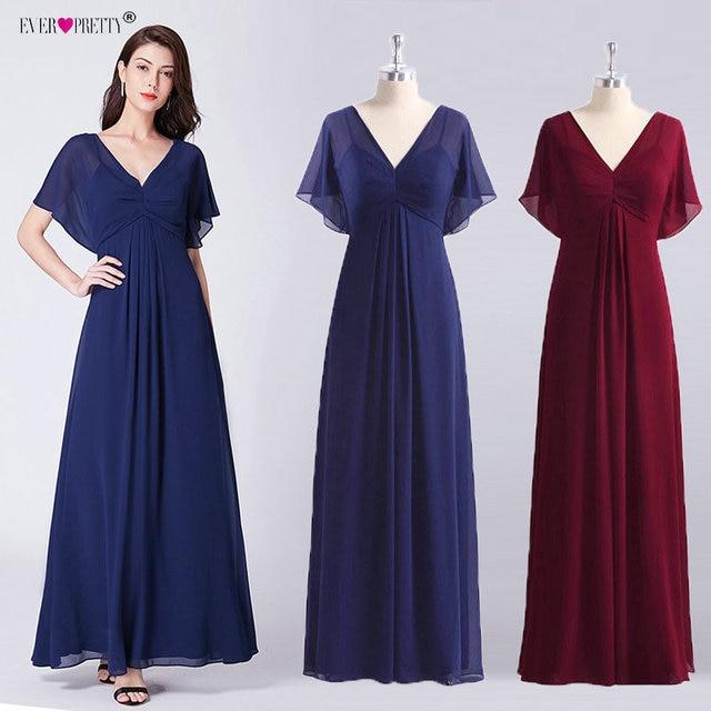 Navy Blue Chiffon Evening Dresses Long Ever Pretty New V-neck Elegant Long  Dress A-line Burgundy Party Gowns Vestidos Festa 0174f4ef09e5