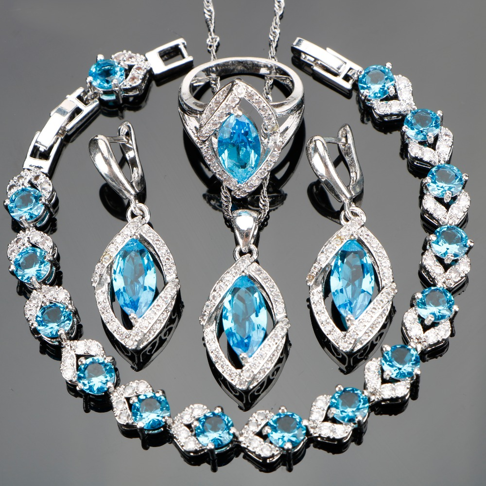 Ladies Classic Bridal Jewelry Sets Sky Blue CZ White Stones Silver Wedding Bracelet Necklace Earring Ring