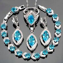 Женские Классические свадебные украшения комплекты голубой CZ белыми камнями Серебряная свадьба браслет колье серьги кольцо для невесты Выходные туфли на выпускной бал