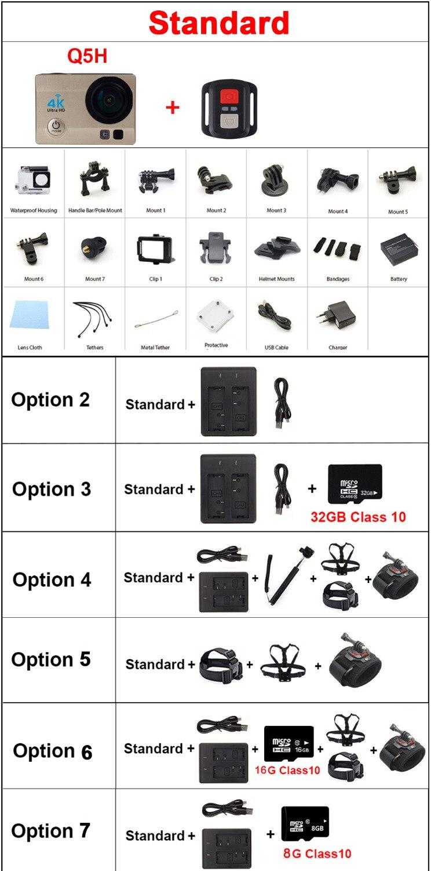 Caméra d'action riche 4 K Q5 pro Ultra HD WiFi 1080 P caméra de Sport 60fps Sport Dv Cam go sous-marine étanche casque caméras - 6