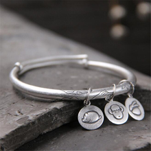 Fashion Antique Bergamot Lotus Adjustble Bangle S999 Silver Expandable Wire Three Chinese Zodiac Sign Charms Bracelet