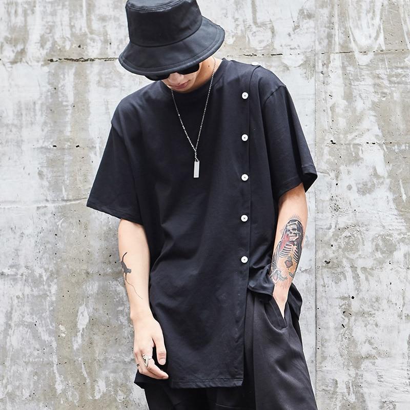 Male Casual Loose Short Sleeve Punk Style Tee Shirts Streetwear Hip Hop T Shirt Men Black T shirt