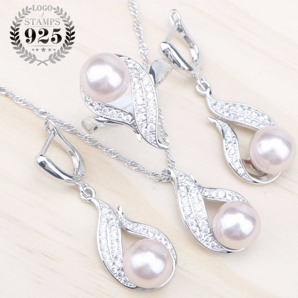 Natural Pearls 925 Silver Bridal Jewelry Sets