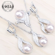Natural Pearls 925 Silver Bridal Jewelry Sets Women White Zircon Earrings With Stones Pendant&Necklace/Rings Set Free Gift Box