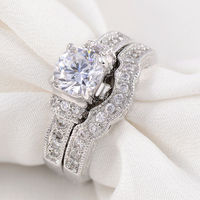 2 4 CT Ring Set 925 Sterling Silver Round AAA Cubic Zircon Wedding Band Engagement Size