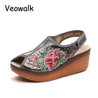 Veowalk Fashion Women S PU Embroidered Wedge Sandals Back Strap Open Peep Toe Summer Platforms Shoes