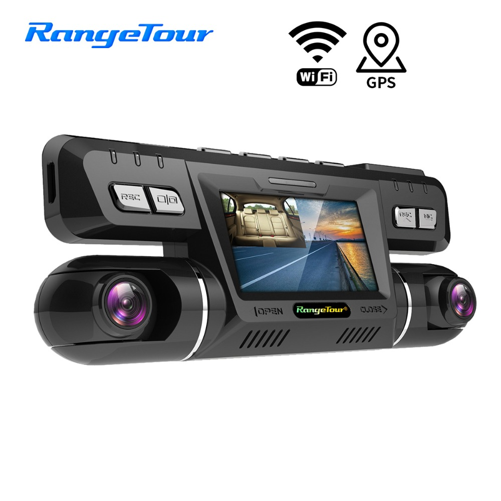 Gamme Tournée Dash Cam B80 WiFi Voiture DVR Double Lentille Full HD Double 1080 p G-Capteur de voiture piste et vitesse de lecture Externe GPS Logger