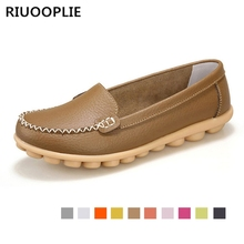 цена на RIUOOPLIE women flats shoes women genuine leather shoes woman cutout loafers slip on ballet flats ballerines flats