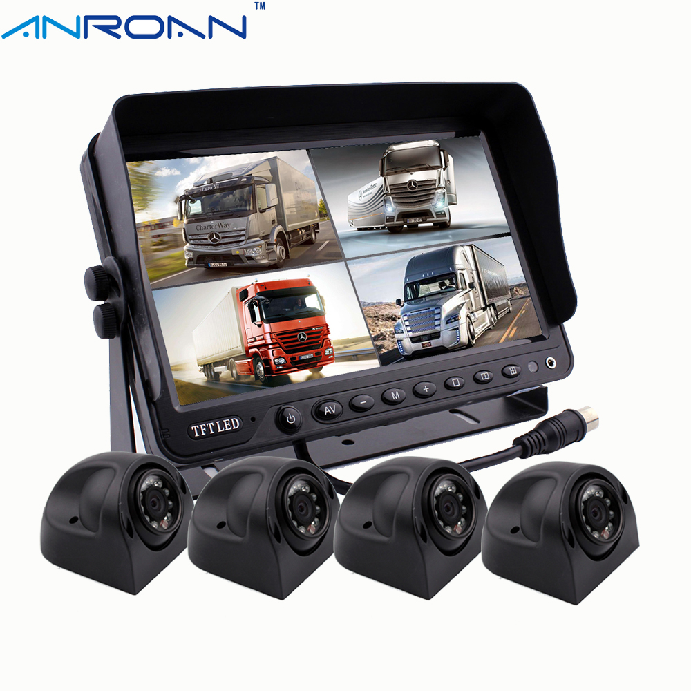 "9"" Quad Split Screen Monitor Car Rear View Camera System"