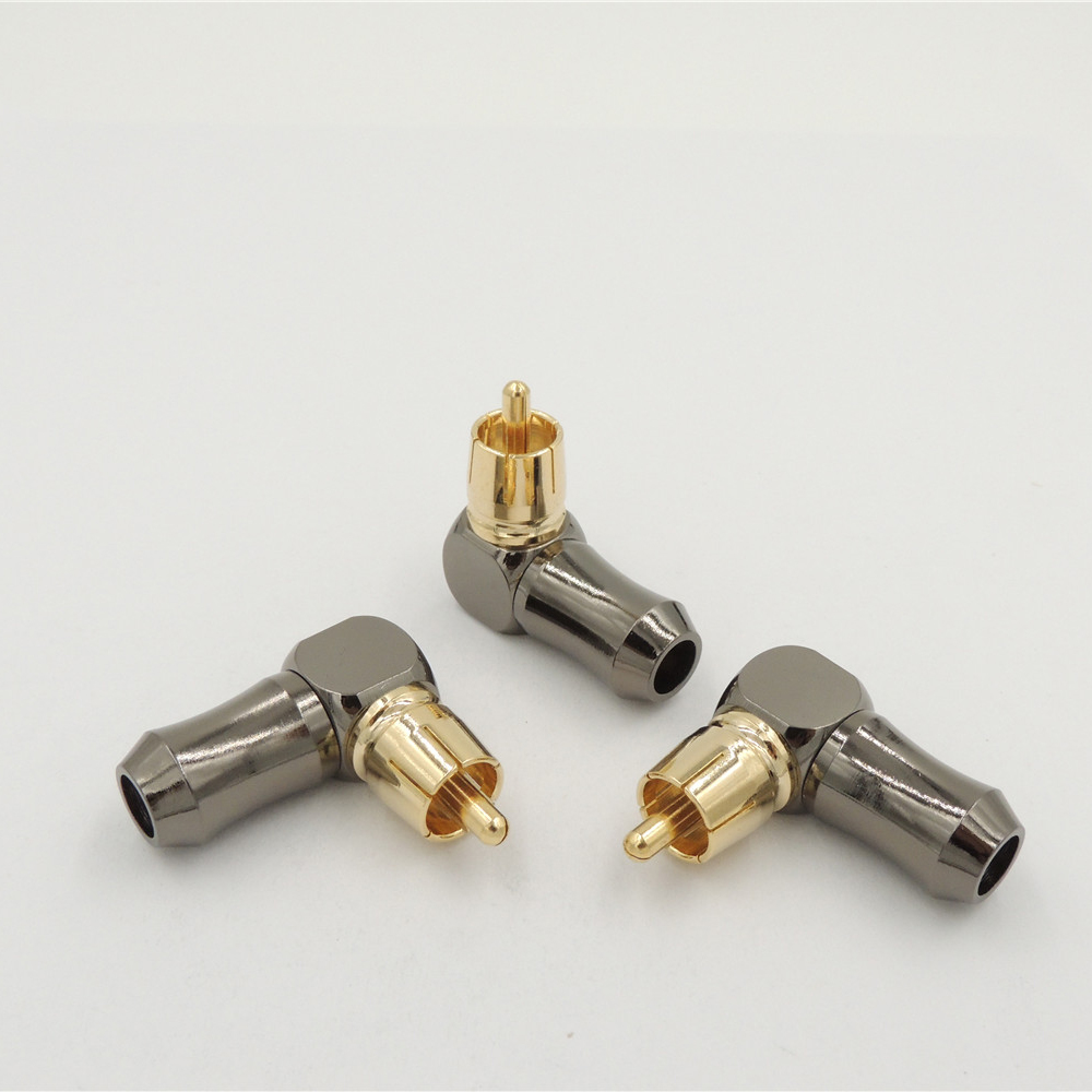 10pcs brass RCA Right Angle Male plug Audio Video connector soldering
