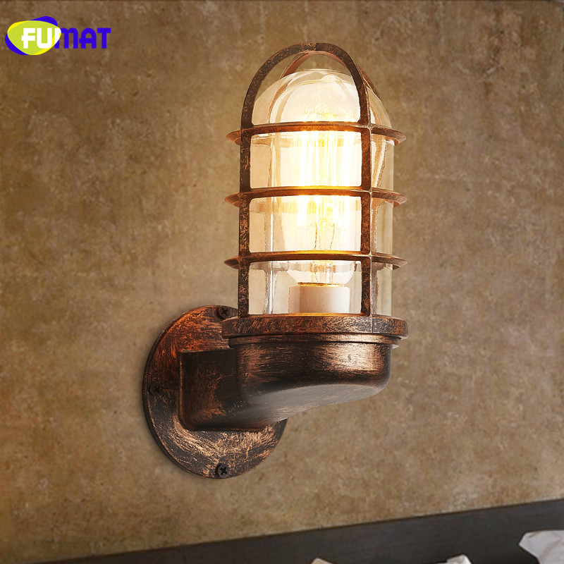 FUMAT Vintage Industrial Iron Wall Sconce Lighting Wall Lamp Light for Bar Restaurant Balcony Aisle Retro Small Cages Wall lampsFUMAT Vintage Industrial Iron Wall Sconce Lighting Wall Lamp Light for Bar Restaurant Balcony Aisle Retro Small Cages Wall lamps