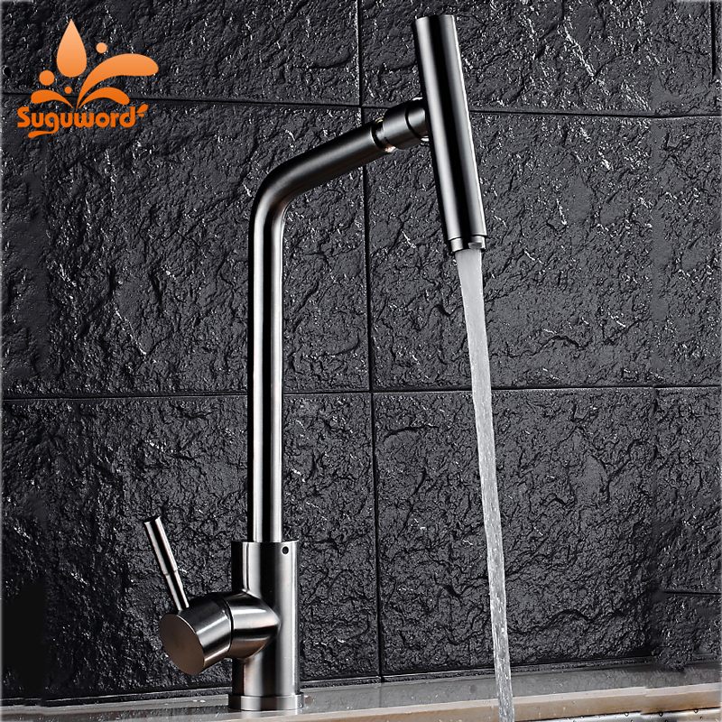 Suguword Brushed Nickel Kitchen Faucet Stainless Steel Tap Single Holder One Hole Deck Mounted Hot and Cold Mixer Tap folding kitchen faucet hot and cold mixer tap sus04 stainless steel brushed nickel 13 009