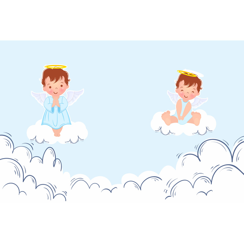 Seamless Vinyl Photography Background Clouds Angel Newborn Birthday Computed Printed Children Backdrops for Photo Studio ZR-150