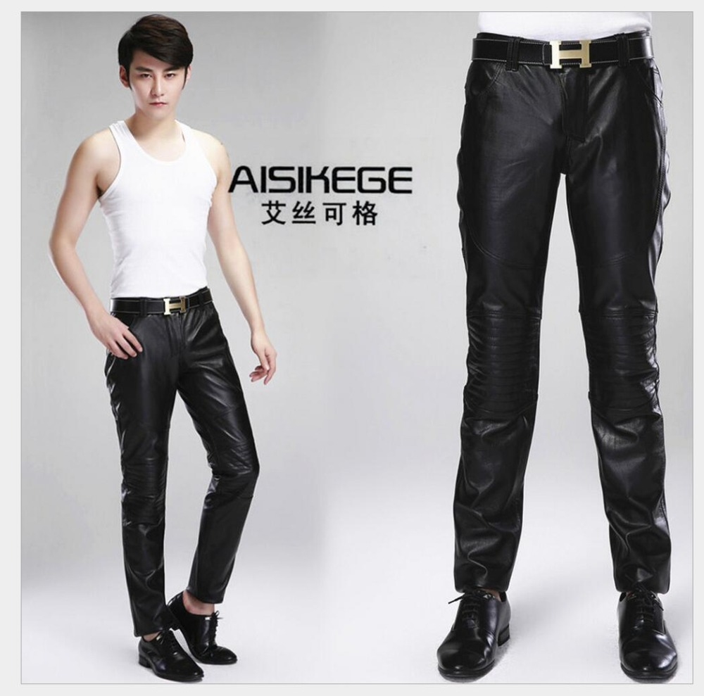 Autumn winter men's leather pants Slim black trousers