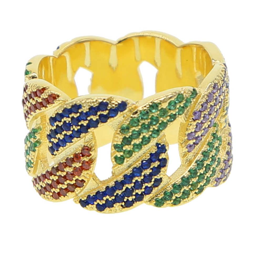 Rozmiar 7-10 hip-hop punk rainbow CZ kobiety pierścienie pełne kolorowe cyrkonia iskrzenie Miami kubański modny łańcuszek ogniwowy mężczyzn biżuteria