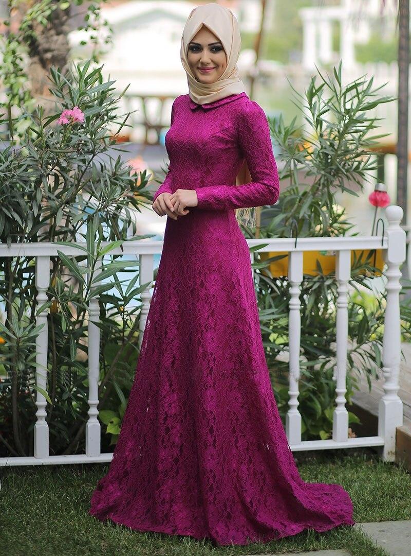 Fushcia Lace Long Sleeve Muslim   Evening     Dresses   2017 Pink Hijab Islamic Abaya Kaftan High Neck A-Line   Evening   Gown Prom   Dress