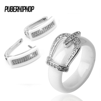 Health Material Wedding Jewelry Sets For Women Classic Crystal Crown Bride Engagement Stud Earrings Rings Wedding