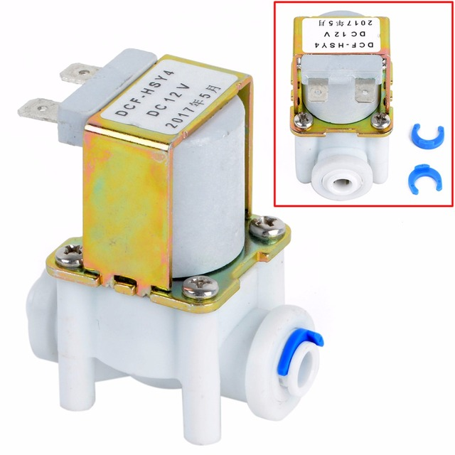 """DC 12V Electric Solenoid Water Valve 1/4"""" 20mm PP NC Magnetic Water Air Inlet Flow Switch Normally Closed"""