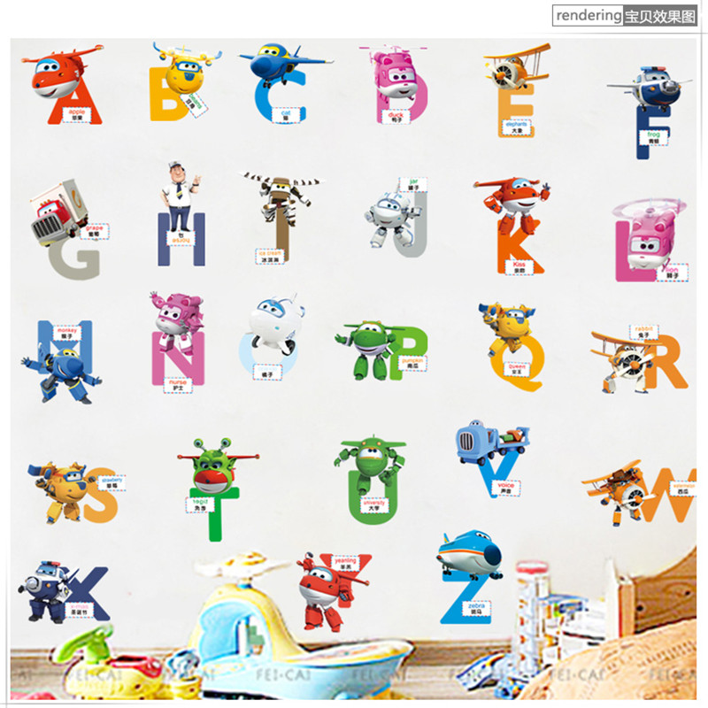 Cute cartoon superwings words English letters stickers children's room kindergarten early education stickers wall stickers