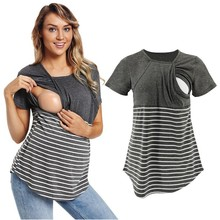 Summer maternity clothes Mom Pregnant Women Baby Breastfeeding Tops Short Sleeve Splice Striped T-Shirt
