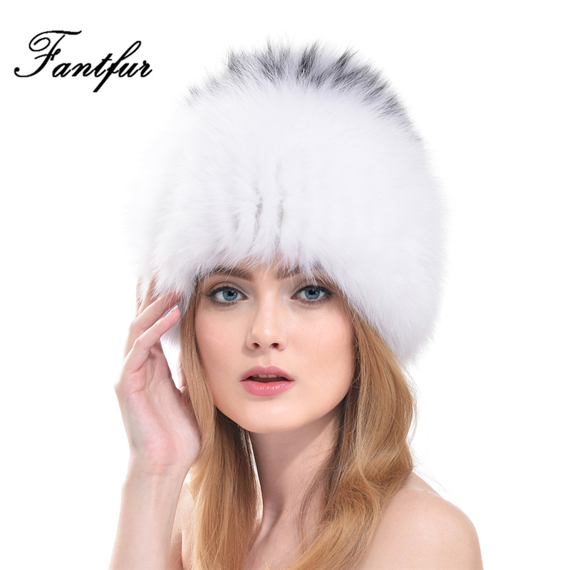 FANTFUR Women Winter Luxury Fox Fur Hats Genuine Knitted Beanies 2017 New Design Russian Style Female Real Cap