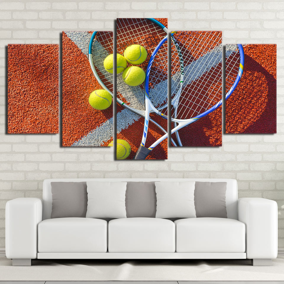 HD Printed Modern Abstract Canvas Painting 5 Panel Tennis Racket Balls Wall Art Modular Poster Frame Pictures Home Decoration
