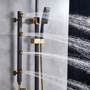 Image 4 - Złoto biała bateria natryskowa w prysznic ścienny System mieszający opady deszczu głowica prysznicowa korpus z mosiądzu strumień masujący prysznic zestaw Swive Spout