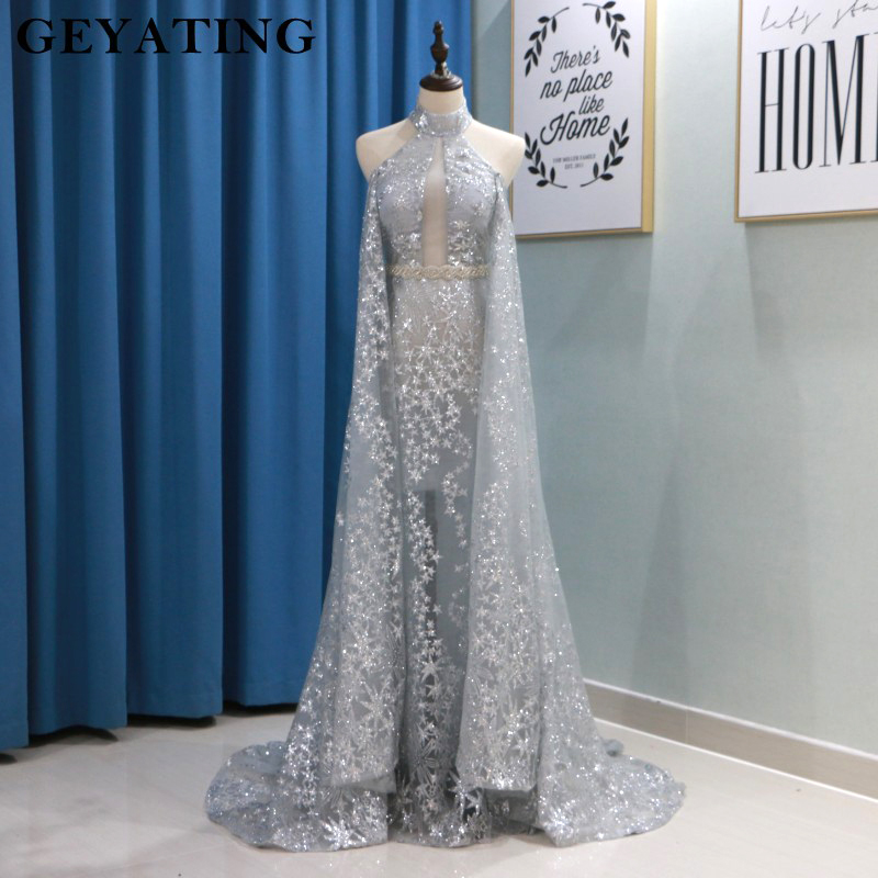 Bling Silver Sequin Long   Prom     Dresses   Detachable Skirt Elie saab Evening   Dress   2019 High Neck Backless Sheer Formal Party Gowns