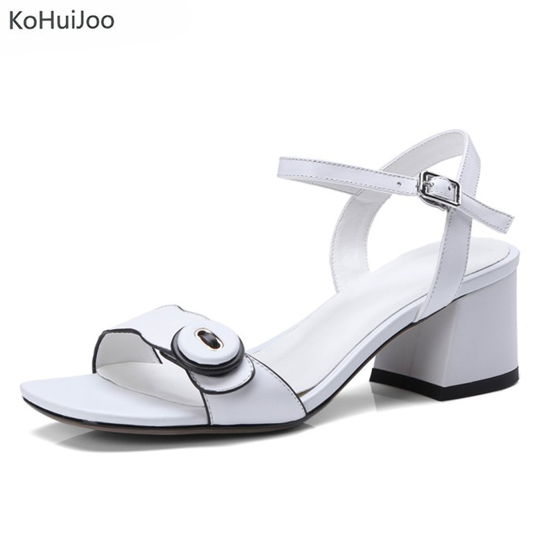 KoHuiJoo 2018 Sandals Women Shoes Fashion Summer 2018 Genuine Leather Shoes Buckles Platform Sandals Square Heel Ladies Shoes upper fairing cowl headlight stay bracket for 2002 2003 kawasaki zx 9r