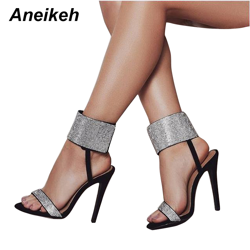 187869708e20 Aneikeh 2018 New Rhinestone Design High Heel Shoes Sandals Crystal Ankle  Wrap Open Toe Diamond Gladiator Women Sandals Black -in High Heels from  Shoes on ...
