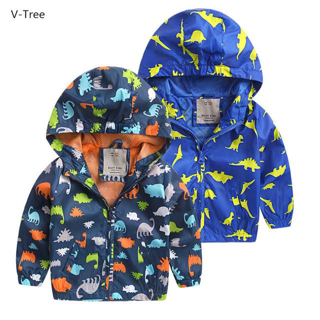 Bebé Con Capucha Niños Chaquetas Para Niños Del Otoño Del Resorte de Doble cubierta de Dibujos Animados Dinosaurio Cazadoras Todder Kids Outwear Chaquetas de Cremallera