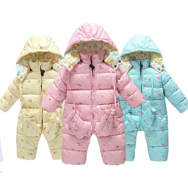 Детские Зимние вниз Rompers Младенческой мальчика Девушки Теплый утолщаются Комбинезоны Комбинезон outwears для Зимних детские комбинезоны одежда