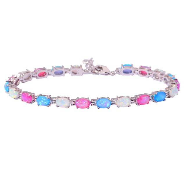 "White Blue Pink Fire Opal Silver Bracelet Wholesale Retail Hot Sell Fashion For Women Jewelry Chain Bracelet 8 1/4"" OS557"