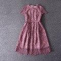 Новое прибытие 2017 весна лето мода выдалбливают женщин кружева с коротким рукавом платья-линии симпатичные повседневные платья розовый синий cocochoose