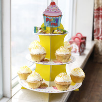 Free Shipping Party Time Three Layer Paper Cupcake Stand Cake Cup Dessert Tray Stand Wedding Birthday