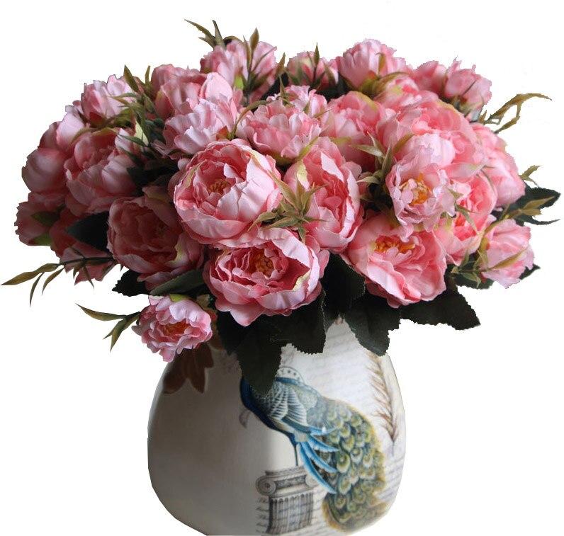 8 Head Europe Peony Silk Flower Arrangement Artificial Fake Bouquet ...