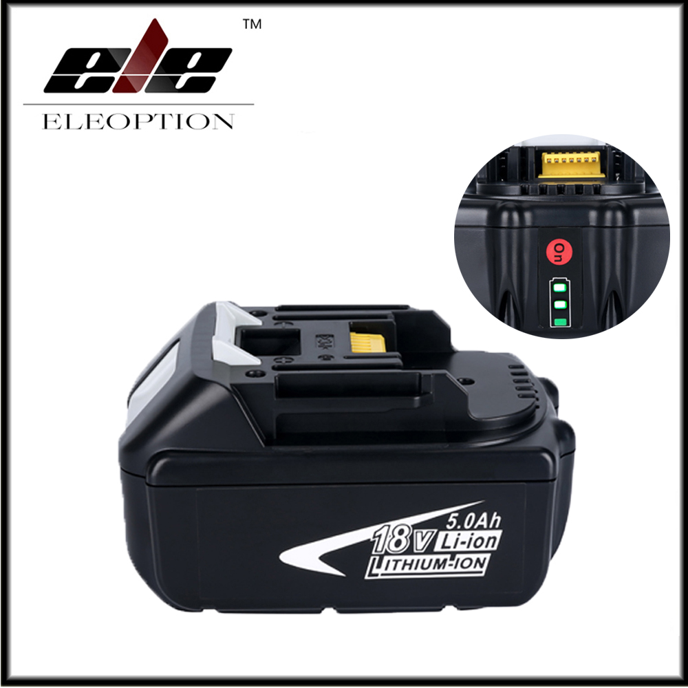Eleoption 18V Full 5000mAh Battery with LED Indicator for Makita LXT Lithium-Ion Power Tools 194205-3 BL1830 BL1850 BL1840 5000mah rechargeable lithium ion replacement power tool battery packs for makita 18v bl1830 bl1840 bl1850 lxt400 194205 3 p25