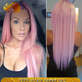 ALYSSA Fashion 2016 Brazilian Straight Pink Hair Lace Front Wig With Baby Hairs Best Grade Full Lace Human Hair Wigs For Women