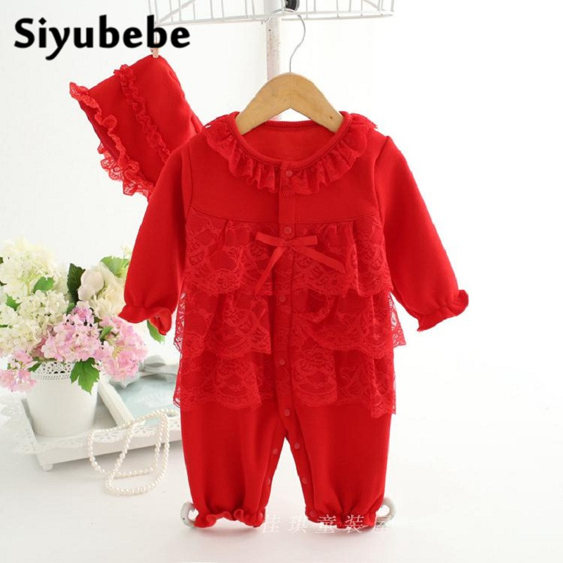 Baby Lace Romper Set High Quality Long Sleeve Bebe Jumpsuit Winter Thick Cotton Velvet Princess Dress Newborn Baby Girl Clothes winter newborn baby girl clothes set 3pcs lace princess dress cotton ropa bebe tops