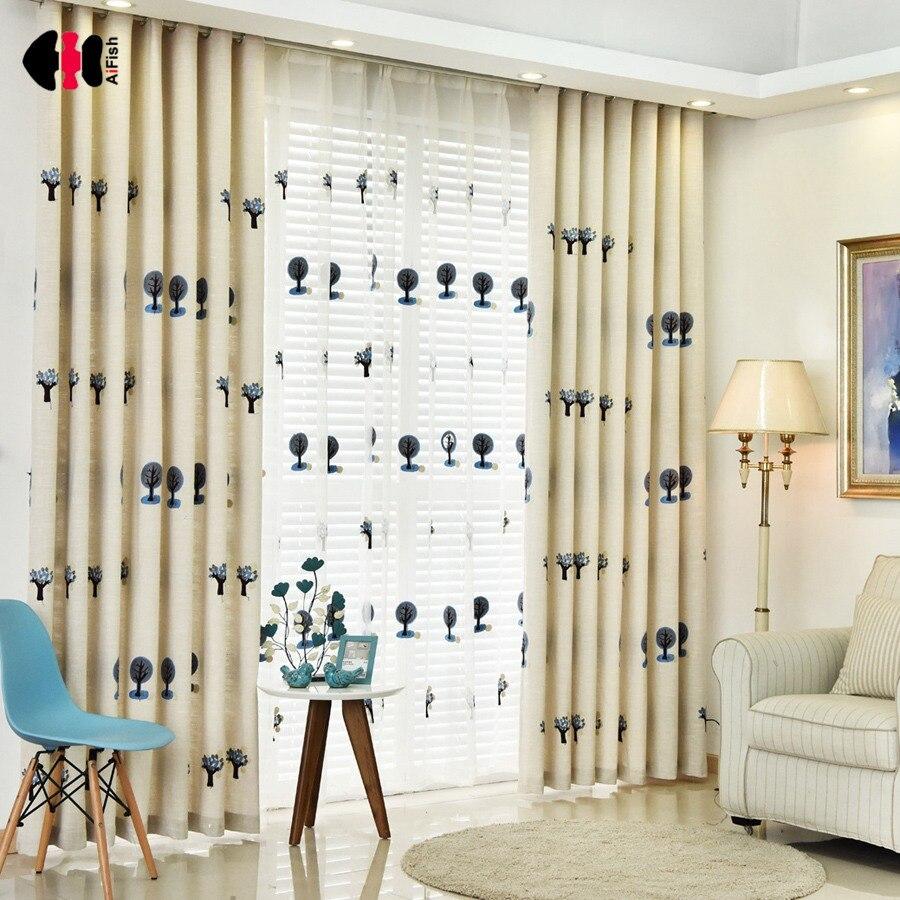 Cartoon Linen Cotton Boy Bedroom Curtains Embroidery: Cartoon Trees Curtains For Bedroom Cotton Linen Towel