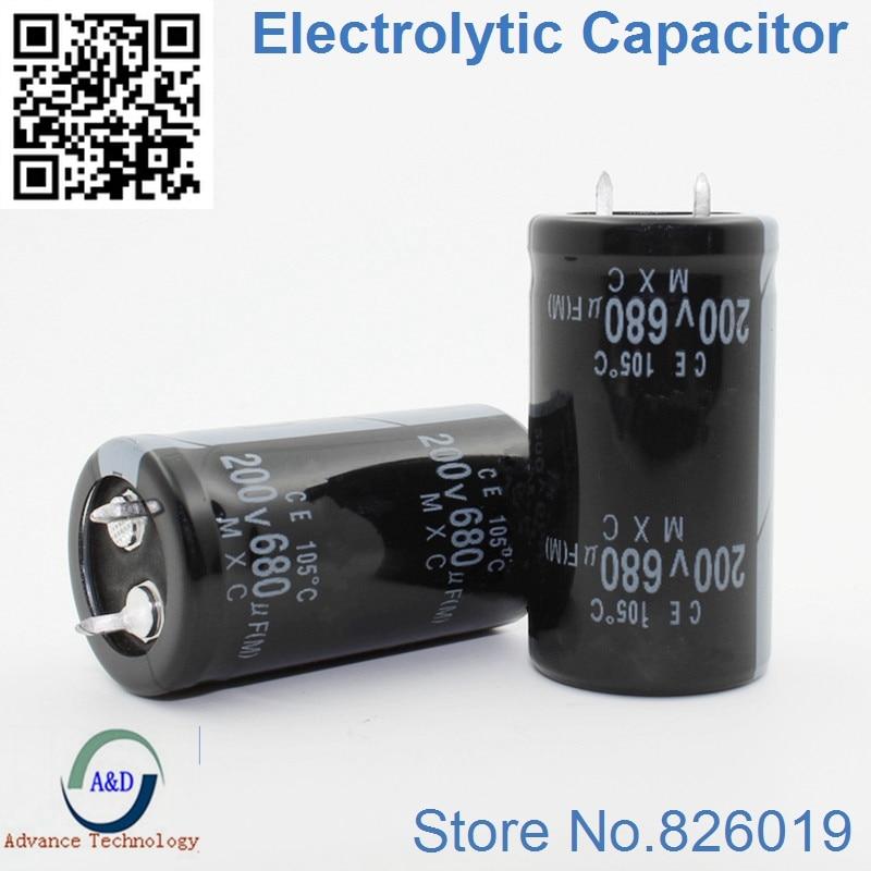 15pcs/lot 200v 680uf Radial DIP Aluminum Electrolytic Capacitors Size 22*40 680uf 200v Tolerance 20%