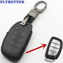 FLYBETTER brelok z prawdziwej skóry 4 przycisk inteligentnego klucza skrzynki pokrywa dla Hyundai IX25 IX35 Elantra Sonata I40 Car Styling (B) L278 tanie tanio Górna Warstwa Skóry