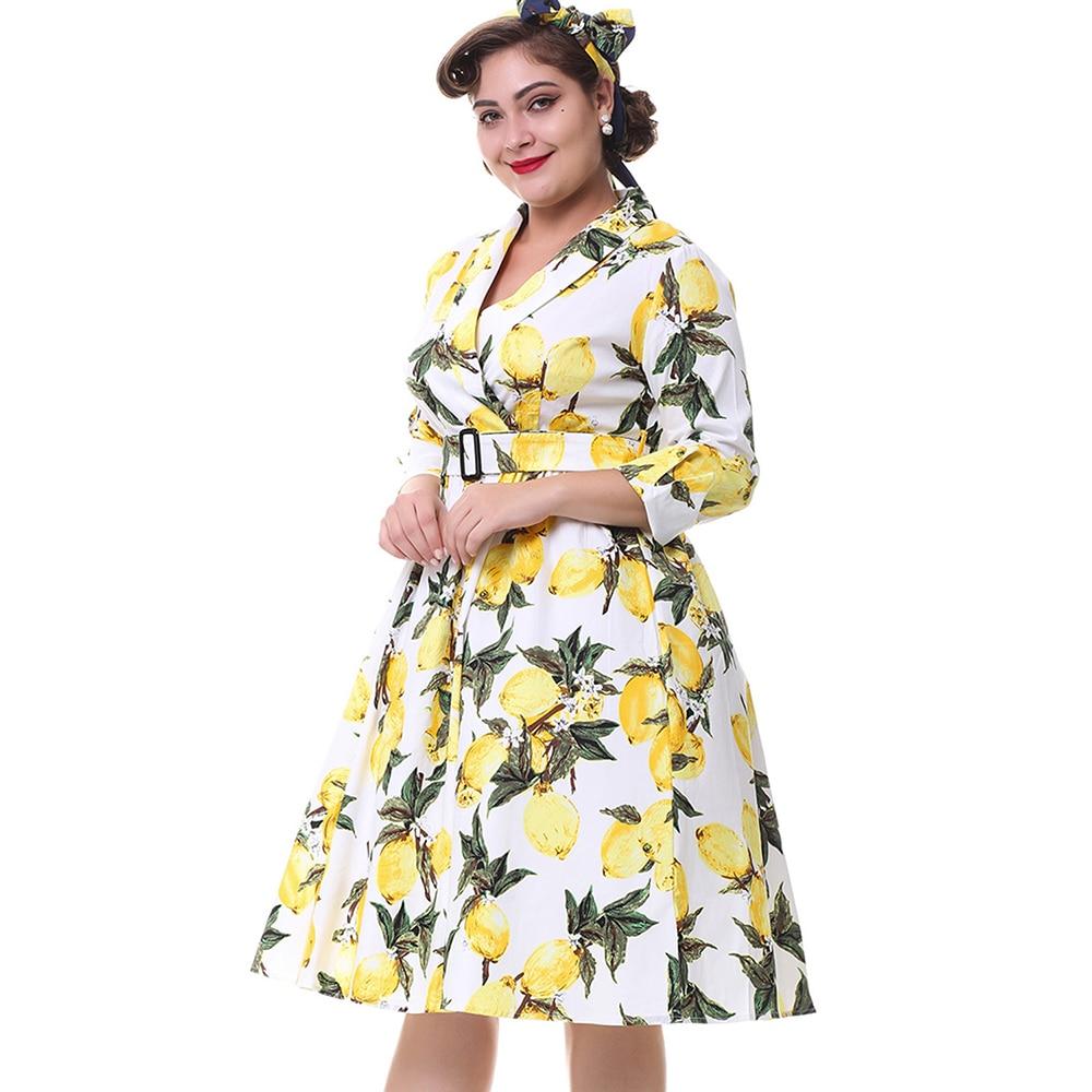a47e80de0ed Kenancy Plus Size Women Lemon Print Vintage Dress 3 4 Sleeves Belts Turn  Down Collar Retro Dress Party Swing 2017New Vestidos-in Dresses from Women s  ...