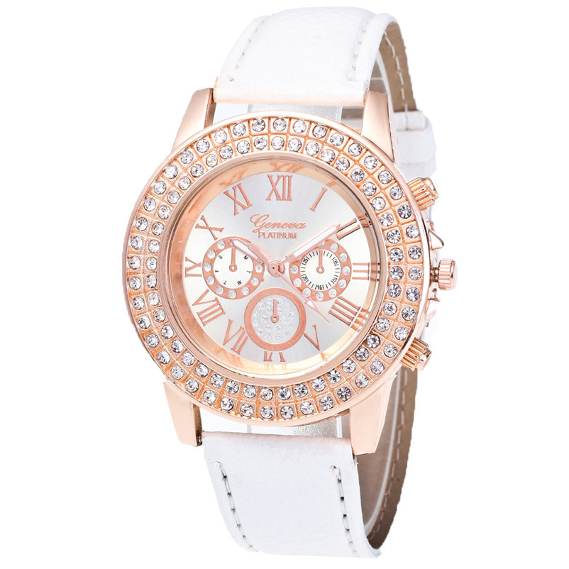 Watches Women Fashion Rhinestone Crystal Watch 2018 PU Leather Band Analog Quartz Wrist Watch Women Clock Relogio Feminino cute cat watch women pu leather wrist watches vogue ladies casual analog quartz watch 2017 new fashion clock relogio feminino