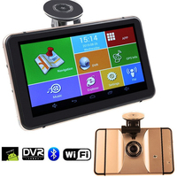 7 Inch Android GPS Navigation Wifi Bluetooth 1080P Car DVR With GPS Navigators Rearview Mirror Recorder DVR GPS Free Map Tourist