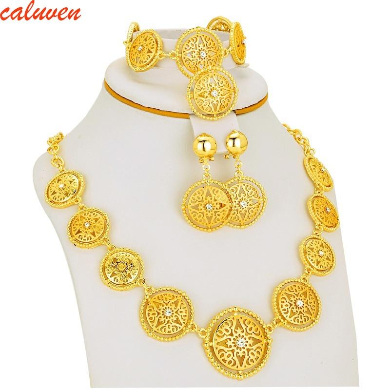 Boja bijelog kamena Etiopljan / Eritreja / Habesha Chokers Žuta boja postavlja nakit za naušnice / ogrlice žene poklon zlatne boje