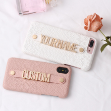 Holding Strap Metal Personalization Your Name Pebble Grain Leather Phone Case For iPhone 12 11 Pro  XS Max XR 7 7Plus 8 8Plus X