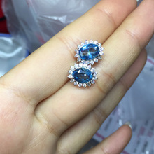 Natural Sky Blue Topaz and London Blue Topaz Cluster Stud Earrings Genuine 925 Sterling Silver Women Jewelry