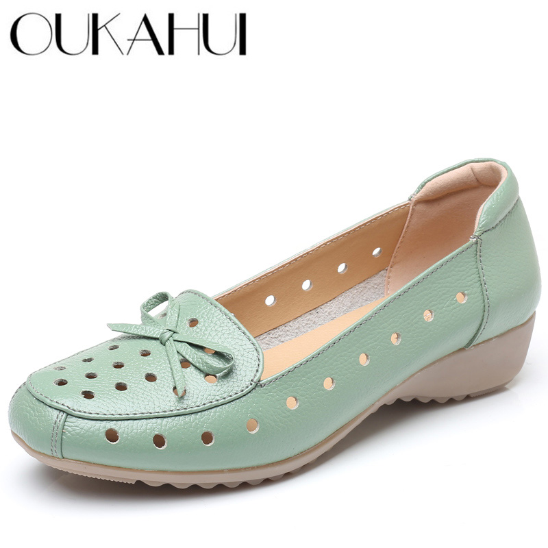 OUKAHUI Breathable Genuine Leather Summer Shoes Woman 2019 Flat Low Heel Bowknot Hollow Out Leather Slip On Shoes For Women Soft