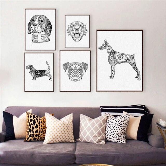 Golden Retriever/Doberman Pinscher Dog Wall Art Prints Poster,  Bulldog/Basset Hound/